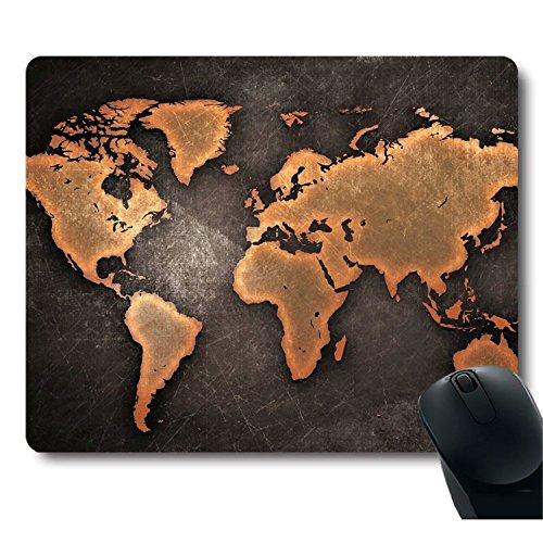 Zmvise Noir carte du monde vintage Décorer Mouse Pad Cool Funny Design Tapis de souris