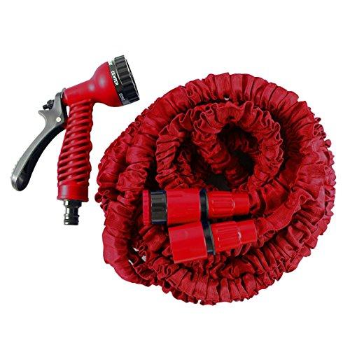 Helo Gartenschlauch 'Flexi' 7,5 m ausgedehnt (2,5 m gefaltet), Farbe: Rot - Flexibler Garten Flexischlauch Wasserschlauch mit verstärktem Gewebe inkl. 7 Funktionen Spritzpistole
