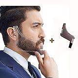 YUMSUM Bartformung der Kammschablone Schnurrbartschneider Shaper-Tool 2 PACK-Kurve Schnitt, Schrittschnitt, Halsausschnitt, Spitzbart für Herrenhaar Bartbesatz (Transparent + Braun)