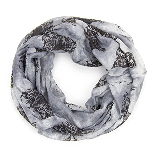 ManuMar Loop-Schal für Damen | Hals-Tuch mit Katzen-Motiv als perfektes Sommer-Accessoire | Schlauch-Schal in Grau - Das ideale Geschenk für Frauen