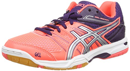 ASICS Gel-Rocket 7, Damen Volleyballschuhe, Rot (Flash Coral/Silver/darkberry 0693), 40.5 EU