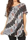 Sakkas 18708 - Camicia Flavia Womens Everyday Top con Tie-Dye e Block Print Light e Soft - Black - OS