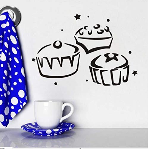 Preisvergleich Produktbild Zlxzlx Drei Cupcake Küche Wandaufkleber Wasserdichte Wohnkultur Aushöhlen Design Abnehmbare Diy Vinyl Aufkleber Für Kinderzimmer Dekoration 59 * 40 Cm