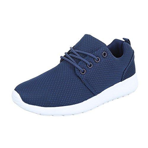 Low-Top Sneaker Damenschuhe Low-Top Sneakers Schnürsenkel Ital-Design Freizeitschuhe Blau KK-60
