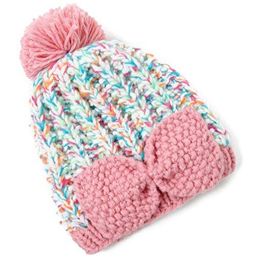 Mode coréenne, chaud d'hiver tricot bonnet/Dames arc mignon protecteurs d'oreille en automne et hiver chapeau laine D