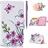 Samsung Galaxy A3 (2016) Coque,Samsung A3 Case -Felfy Flip Style Ultra Slim PU Cuir Couverture Wallet Case Avec Support Fonction Colorful Painting Design Motif Cuir Coque Magnetic Closure PU Étui Portefeuille Cas Housse Etui Samsung Galaxy A3 (2016) (Rose Papillon) + 1 x Violet Touch Stylus + 1 x Noir Fleur Anti Plug