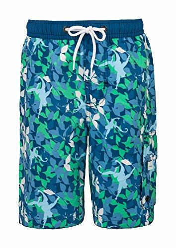 Snapper Rock Jungen UPF 50+ Sonnen UV Schutz Schwimm Surf Shorts Boardshorts für Kinder & Teenager am Strand, Blau/Grün Camo, 7-8 jahre, 128-134cm (Uv-camo Kinder)