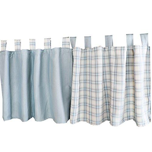 UniEco Einfache Scheibengardine Grau und Blau Plaid Bistrogardine Küchen Vorhang, BxH: 130x80cm, 2 kleines Stück (Vorhänge Plaid)