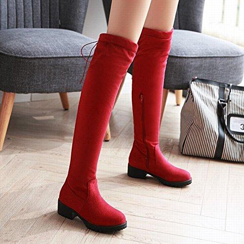 Mee Shoes Damen chunky heels Reißverschluss langschaft Stiefel Rot