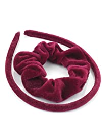 Velvet head band and hair scrunchy set. Available in Navy BLue, Royal Blue, Purple, Burgundy, Green, Grey, Black, Red or Brown. Attractive hair accessories. (Burgundy)