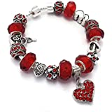 Red Love Hearts Charm Bracelet Pandora Style Gift Boxed 20cm