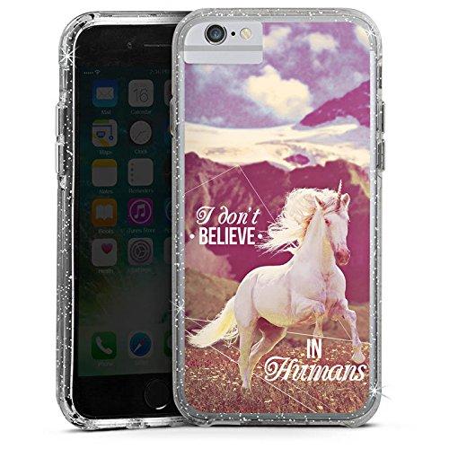 Apple iPhone 6 Bumper Hülle Bumper Case Glitzer Hülle Einhorn Unicorn Sprüche Bumper Case Glitzer silber