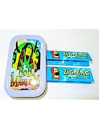 1oz Bob Marley (Color Gris), diseño Tabaco/Bolsillo/Stash lata + 2zigzag azul estándar folletos Combo se vende por Trendz