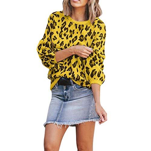 Sudaderas Mujer, Otoño e Invierno Adolescentes Chicas Sudaderas de Manga Larga Camiseta Blusa Moda Leopardo Pullover Original Cárdigan Suéter Suave Comodo Punto Jersey