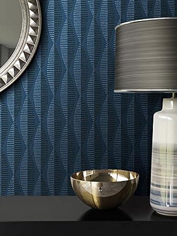 Tapete Blau Vliestapete in Natur Optik , schöne, moderne, edle Tapete im Grafik Design , für Wohnzimmer, Schlafzimmer oder Küche inklusive Newroom Tapezier Ratgeber mit Tipps für perfekte Wände
