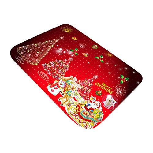 Mumuj Decorazione Natalizia per Albero di Natale, Babbo Natale, per Porta, Bagno, Pavimento, Tappetino per Pavimento, Stampa 40 x 60 cm