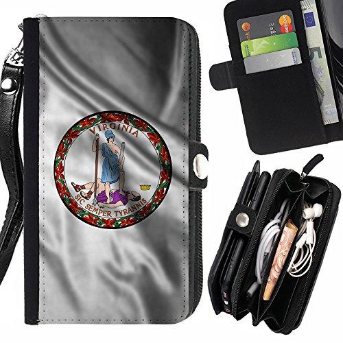 FJCases Virginia The Old Dominion State Wehende Siegel Flagge Handschlaufe und Reißverschluss Hülle Schutzhülle für HTC One Mini 2 Old Virginia Mini
