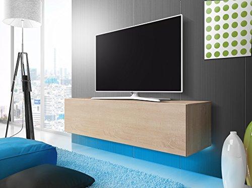 Lana - Meuble TV suspendu / Table Basse TV / Banc TV de Salon (160 cm, Aspect Bois de Chêne de Sonoma avec la LED bleue)
