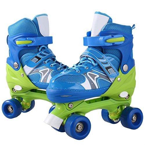 WeSkate Kid Fashion Quad Skates Einstellbare Größen Rollschuhe PVC Rad Triple Lock Mesh Breathable Rollerblades Für Anfänger/Kleinkinder/Kinder/Jungen/Mädchen (Blau, 35-38)