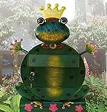 Briefkasten Frosch Freddy mit Zeitungsrolle aus Metall handbemalt 2170