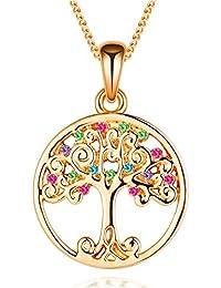 Collar del árbol de la vida de Murtoo decorado con elementos de cristal de Swarovski. Collar del árbol de la vida con cristales para mujer