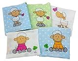byboom–Gasas–Pañales de tela–para Vómitos paños–Multicolor–70x 80cm–5Pack, 100% algodón; fabricado en la ue, color: azul–Ovejas