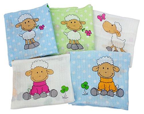 ByBoom® - Mullwindeln - Stoffwindeln - Spucktücher - Bunt - 70x80 cm - 5er Pack, 100% Baumwolle; MADE IN EU, Farbe:Blau - Schäfchen