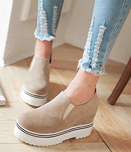 Aisun Damen Dicke Sohle Low-top Wildlederoptik Loafers Sneakers Beige