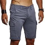 LEIF NELSON Herren Cargo Hose Shorts Sommer Kurze Hose Chino Bermuda Stretch Slim Fit LN1345; W32; Anthrazit