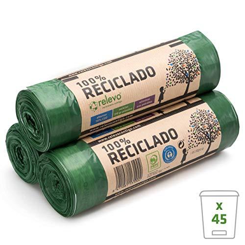Relevo 45 Stück Müllbeutel 30 Liter - 100% Recycelt und Strapazierfähig