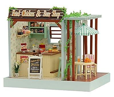 DIY Wooden Dolls House Handcraft Miniature Kit-Chicken & Beer shop Model & Furniture