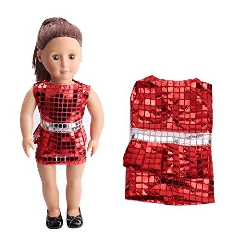 Mingfa Kleid für 45,7 cm American Girl oder Our Generation Puppe, süße Pailletten, hübscher Sommerrock, Puppenzubehör.