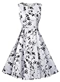 Futurino Women's Spring/Summer Casual Vintage Classy Floral 1950s Audrey Hepburn Tea Swing Midi Dress Beach Vacation (XXL/UK12-14, White and Black)