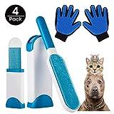 Kit per Guanto Spazzola per Cani & Gatti + 2 Spazzole con Basi Autopulenti, Pulizia e Massaggio, Progettato per Cani Gatti Coniglio Cavallo Cane Gatto - Peli Lunghi o Corti