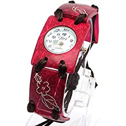 Ladies Watch with Red Oblong Bezel White Face with Red Strap Flower Detail and Brown Sliding Knot Fastener