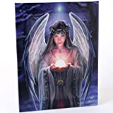 Fantastisches Anne Stokes Design - Yule Angel - Eine gotische weiß Yule-Weihnachtsengel, einen goldenen Ball in ihrer Hand halten - Leinwand Bild auf Bild-Wand-Plakette / Wand Kunst