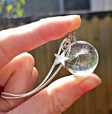 Chaîne en argent sterling Collier de pissenlit pendentif en verre collier étoile - Boite cadeau Cadeau d'anniversaire pour les filles pendentif bijoux fête des mères