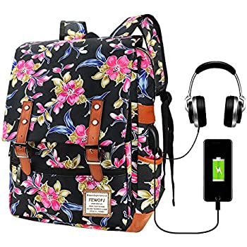 Feskin Fashion Vintage Casual Floral Daypacks Solid Shoulder School Bag for Women and Girl Zamioculcas zamiifolia Retro Classic Style Mini Flower Backpack