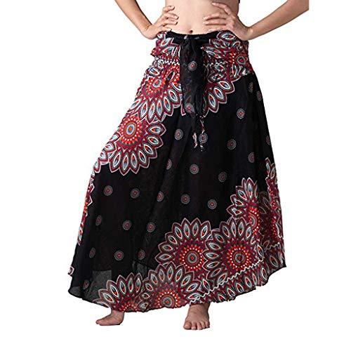 SUCES Bohemian Maxi Rock Damen Hippie Gypsy Boho Kleid Ethnisch Stil Blumendruck Lange Röcke Frauen Elegante Strandkleider Hohe Taille Casual Sommerkleid -