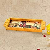 #3: Handicrafts Gift House Jaipuri Gemstone Painted Wooden Serving Tray 338