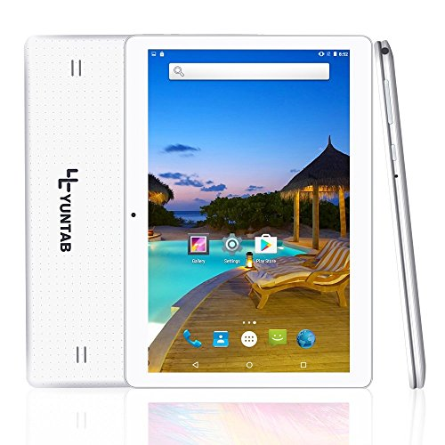 Yuntab K107 10.1 Inch Quad Core CPU MT6580 Cortex A7 Android 5.1,Unlocked Smartphone Phablet Tablet PC,1G+16G,HD 800×1280,Dual Camera,IPS,WiFi,Bluetooth,G-sensor,GPS,Support 3G Dual SIM Card (White)
