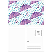 DIYthinker Gracias púrpura acuarela paraguas de la lluvia postal Conjunto de tarjeta de cumpleaños de correo