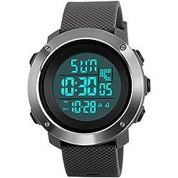 Digital reloj deportivo, militar al aire libre reloj para hombres Resistente al agua LED luz de fondo resistente al agua relojes electrónicos 50M resistente al agua cronómetro alarm-grey