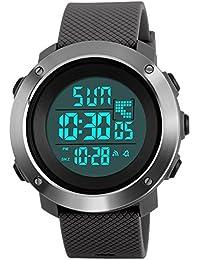 Digital montre de sport militaire, extérieur montre pour homme LED étanche résistant à l'eau montres électroniques arrière lumière 50m résistant à l'eau Chronomètre Alarm-grey