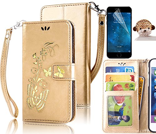 Magnetica Cover per iPhone 6, Custodia per iPhone 6S, Sunroyal Farfalle e Fiori Bling Diamante Rhinestone 3D Portafoglio Wallet Flip Pelle Libro Dipinto Case Cover in PU pelle Borsa Shock-Absorption U Farfalla doro - Oro