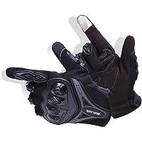Par Guantes Dedo Completo PU Proteccion para Moto Bici Motocicleta Motorista puede pantalla táctil … (L, negro)