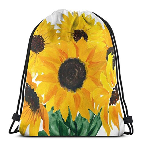 Integrity merchant Painted Sunflower Bouquet Drawstring Backpack Bag Lightweight Gym Travel Yoga Casual Snackpack Shoulder Bag for Hiking Swimming Beach -