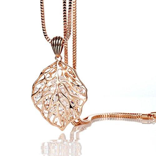 Sunnywill Elegante Crystal hohlen Blatt Pullover Kette Halskette Modeschmuck für Frauen Mädchen Damen (Modeschmuck Gold Lila Und)