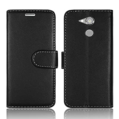 For Sony Xperia X Xa Xa1 Xz Xz1 Xa2 L2 Compact Ultra And Premium Plain Black Plane Noir Stylish Pu Leather Wallet Book Card Cash Debit Credit Slot Case Cover (xperia L2 - H3321 / H4331)