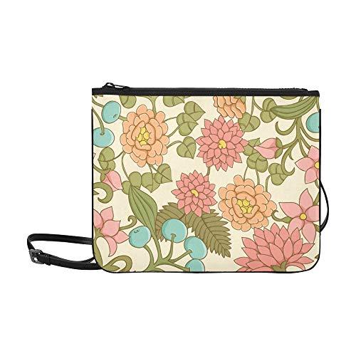 WYYWCY Cute Floral Leafs Beeren Benutzerdefinierte hochwertige Nylon Slim Clutch Bag Cross-Body Bag Umhängetasche